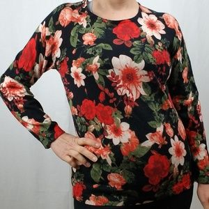 CECE CYNTHIA STEFFE FLORAL PRINT KNIT TOP SIZE MED